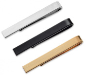 3 Pc Tie Bar Cilp Set 3.8cm 1.5 Inch for Skinny Ties Brushed Silver, Black, Brushed Gold