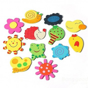 PhilMat 12Pcs Baby Kids Cartoon Animal Kitchen Fridge Magnet Educational Wooden Toys