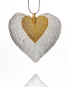 Ana Morales Ladies Set of 3 Big Leaf Silver Plated with 24 K Gold Plated without chain leaf length approx. 60 mm