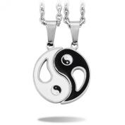 Black White 2 PCS Stainless Steel Enamel Pendant Necklace Yin Yang Love Valentine Couple Set
