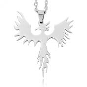 Silver Stainless Steel Pendant Necklace Phoenix Bird Firebird