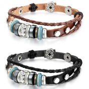 Aroncent 2pcs Alloy Genuine Leather Bracelet Bangle Braided Rope Wooden Bead Rhinestone Brown Black