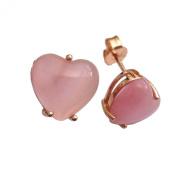 925 Sterling Rose Silver Hearts Earrings
