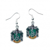 Official Harry Potter Silver Plated Slytherin Crest Drop Earrings on Harry Potter Card