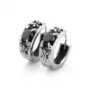 MENDINO Men's 1 Pair Silver CZ 316L Stainless Steel Huge Rocker Hoop Ruby Earrings