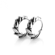 MENDINO Men's One Pair Cool Men's Silver Round Dragon Fin 316L Stainless Steel Earrings