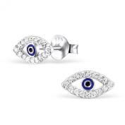 Laimons - Stud Earrings - Women - 925 Sterling Silver - Zirconia - Eye