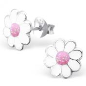 Laimons - Stud Earrings - Kids - 925 Sterling Silver - Daisy Flower - Pink - Shiny