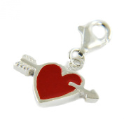 Ladies Red Sterling Silver Heart Charm with Trigger Clasp - Gift Boxed
