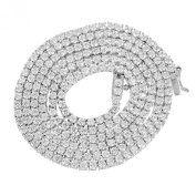 Master Of Bling Men's 14k White Gold Finish Lab Diamond Iced Out Tennis Link Chain Solitaire Necklace
