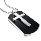 MENDINO Men's Alloy Silver Cross Black Dog Tag Army Style Pendant Chain Necklaces Velvet Bag