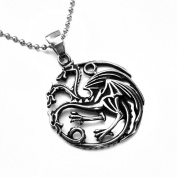 MENDINO Jewellery Men's Pendant Necklace 3 Headed Dragon Targaryen Sigil Silver Game of Thrones
