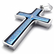 MENDINO Jewellery Men's Silver Blue Vintage Rotating Bible Cross Pendant Stainless Steel Chain Necklace