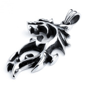MENDINO Men's Tribal Tatoo Fire Dragon Flame 316L Stainless Steel Silver Pendant Necklaces