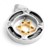 MENDINO Mens Jewellery Silver Star Of David Stainless Steel Round Hexagram Gold Pendant Necklaces