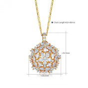 Waterlucy Flower Cluster Necklace with 18k Gold Plated CZ Pendant, 2 Colours