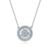 Waterlucy Flat Design CZ Channel Setting with 18k White Gold Plated Pendant Necklaces