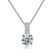 Waterlucy Heart and Arrow Cut CZ 18k White Gold Plated Slip Pendant Necklaces