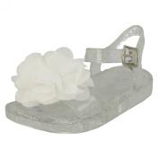 Girls Spot On Flat Jelly Sandals / Flower Trim