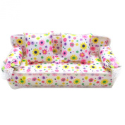 Mini Miniature Furniture Flower Print Sofa Couch with 2 Cushions for Barbie Doll Toy