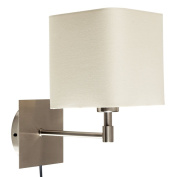 Modern Cream Polycotton Square Design Brushed Chrome Wall Light with Practical Plug, Cable and Switch