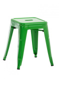 CLP Metal Stool ARMIN, robust step stool / small chair, stackable, seat height 46 cm green