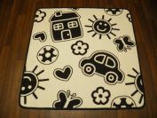 Non Slip Kids Home Monochrome Play Mat /Rug 100cm x 100cm Hours Of Fun