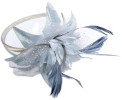 Bride Boutique Wedding Prom Races Satin Net Feather Flower Side Accent Headband Hair Fascinator