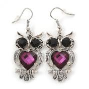 Black & Purple Crystal Owl Drop Earrings