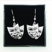 Fine Quality English Pewter Theatrical Masks Design Earrings, Lovely Gift Idea