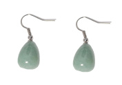 Green Jade Gem Stones Drop Earrings (Organza Gift Pouch Included).