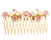 BONAMART ® Pink Artificial Pearl Flowers Barrette Claw Clip in Hair Comb Hair Accessories