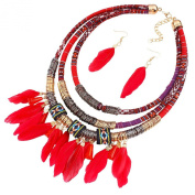 Feather Pendant Multi Layers Tribal Bib Necklace Statement Earring Jewellery Set