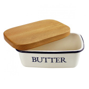 Butter Dishes - Multi Function Enamel Butter Boat with Lid White - By Svebake