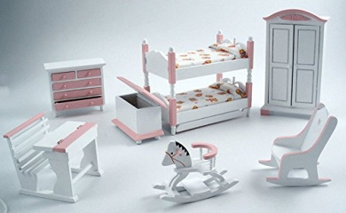 1/12th Scale Pink Nursery Set Including Bunk Beds Streets Ahead