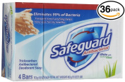(PACK OF 36 BARS) Safeguard WHITE W/ ALOE Antibacterial Bar Soap. ELIMINATES 99% OF BACTERIA! Washes Away Dirt & Odour! Healthy Skin for Hands, Face & Body!