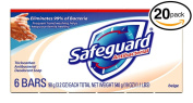 (PACK OF 20 BARS) Safeguard BEIGE Antibacterial Bar Soap for Men & Women. ELIMINATES 99% OF BACTERIA! Washes Away Dirt & Odour! Healthy Skin for Hands, Face & Body!