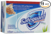 (PACK OF 11 BARS) Safeguard WHITE W/ ALOE Antibacterial Bar Soap. ELIMINATES 99% OF BACTERIA! Washes Away Dirt & Odour! Healthy Skin for Hands, Face & Body!