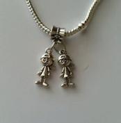 Beads Hut - Little Boys Brothers Twins Babies Dangle Bead for Silver European Charm Bracelet