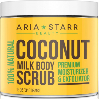 Aria Starr Coconut Milk Body Scrub - Best 100% Natural Skin Care Exfoliator & Moisturiser - 350ml