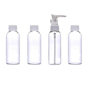 4 X Travel Toiletry Bottles Set in Clear Bag