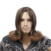STfantasy 48cm Long Curly Brown Men Wigs