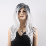 STfantasy 60cm Fashion Long Curly Mix-colour White-black Wig For Women With Free Cap