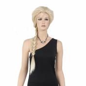 STfantasy 80cm Elsa Style Long Blonde Braid Queen Wigs For Women