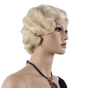 STfantasy 38cm Short Curly Wave Blonde Wigs For Middle-aged women With Free Cap