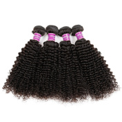 ZS Hair Mixed Length Kinky Curly Brazilian Virgin Remy Human Hair Weave Weft 4 Bundles 400 Grammes Total Unprocessed Natural Colour 25cm - 80cm