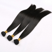 Toprincess 8A Grade Brazilian Straight Hair Weft 60cm 70cm and 70cm Natural Black Virgin Hair for Black Woman No Tangle and No Shedding 1 Year Lasting