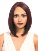 MEGA LACE 110 (1 Jet Black) - Hair Topic Deep L Part Synthetic Lace Front Wig