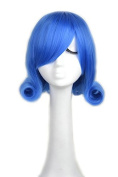 Yuehong Blue Short Curly Cosplay Wig Anime Costume Wigs Synthic Hair Wig