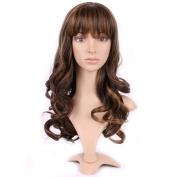 Sexybaby Wig Full Wigs Cap Hair Nets Short Real Synthetic Fibre Dark Golden Mix 17 Inch/43CM Hairpiece